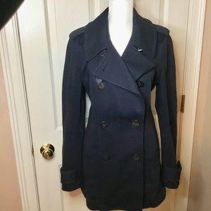 Burberry Brit Navy Blue Pea Coat - Size 10